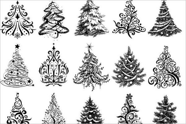 Christmas Tree Drawing Vector Design