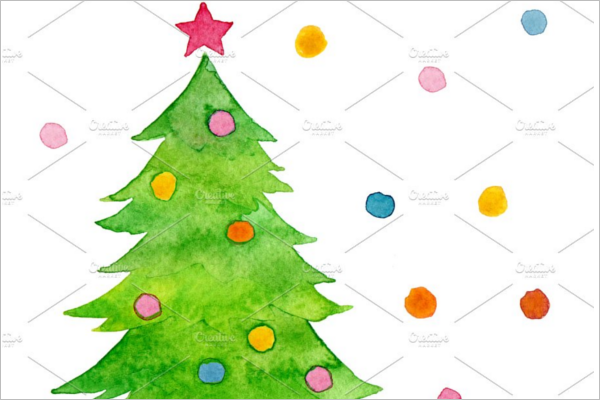 Christmas Tree Drawing With Colour