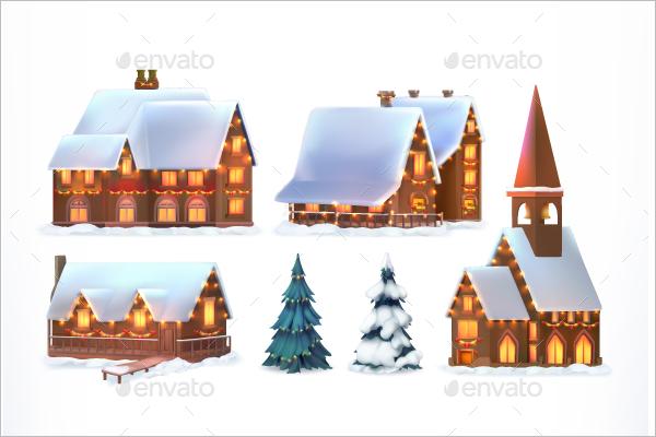 Christmas Village Decoration Template