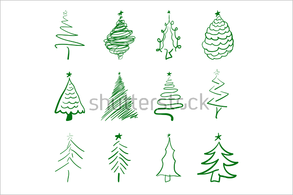Coloured Christmas Tree Drawing Template