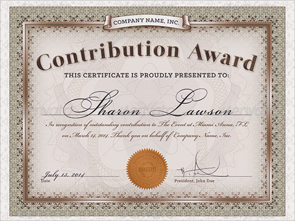 Contribution award certificate template