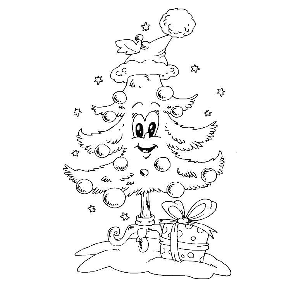 Cute Christmas Tree Drawing Template
