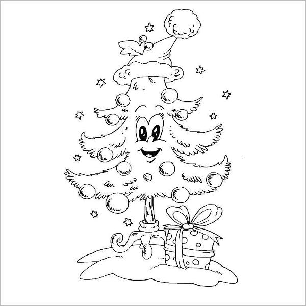 Cute Christmas Tree Drawing Template
