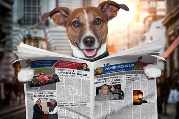 Dog Newspaper Mock Up