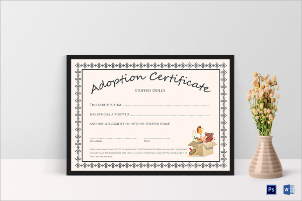 Doll Adoption Certificate Template