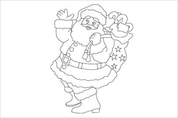 Drawing of Santa Claus Template