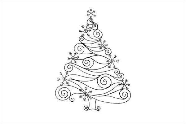 Editable Christmas Tree Drawing