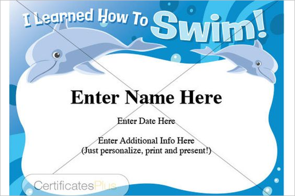 Editable Swimming Certificate Template