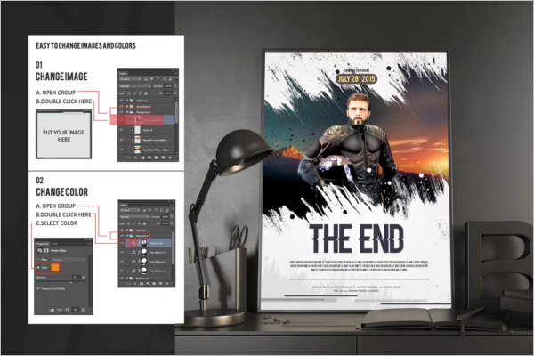 End Of Movie Poster Template