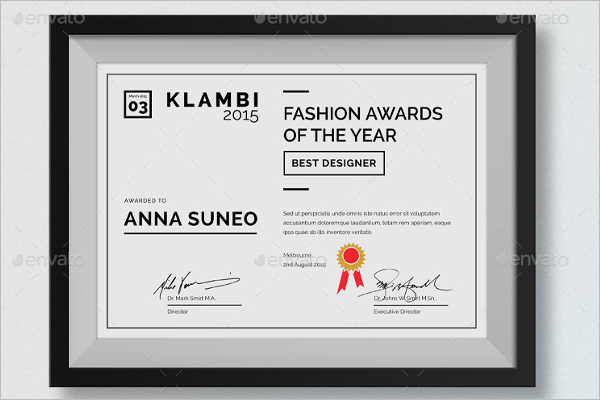 Fashion awards Certificate Template
