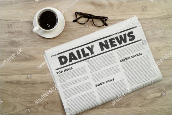Free Mockup newspaper on wood table.