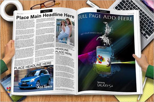 Free Newspaper Spread Mockup