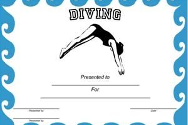 Free Printable Swimming Certificate Design