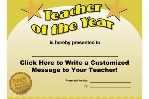 Funny Teacher Certificate Template