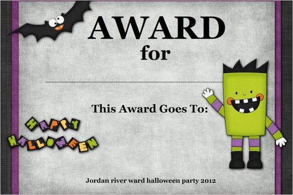 Halloween Award Certificate Template