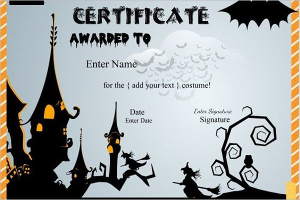 18 halloween certificate templates free printable word designs halloween gift certificate template yelopaper Images