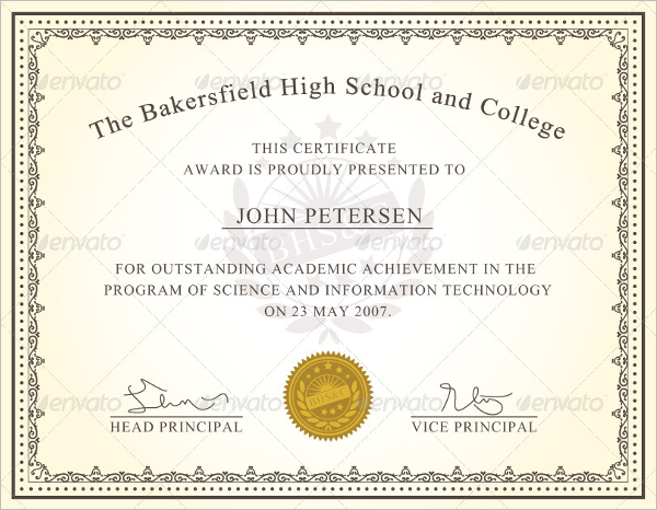 High School Award Template