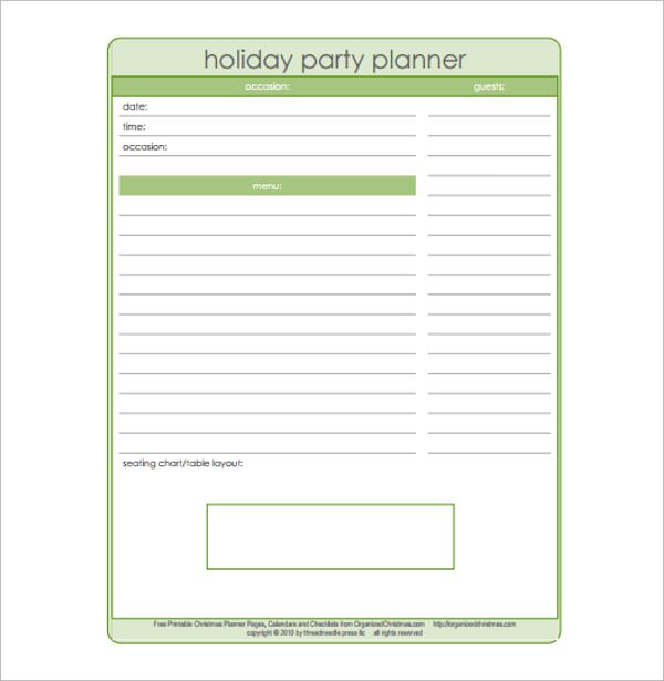 Holiday Party Planning Template