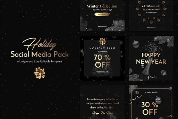 Holiday Social Media Pack Design