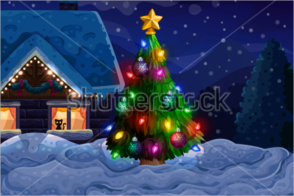 House With Christmas Tree Decoration
