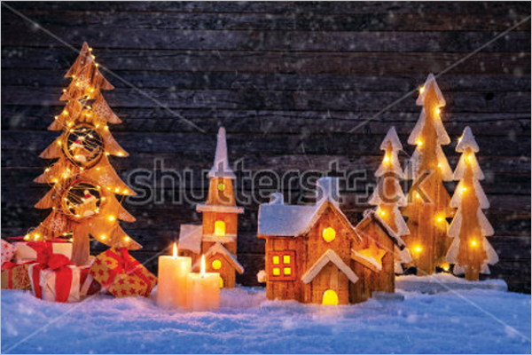 Illustrated Christmas Village Decorations