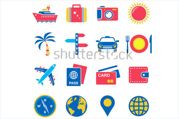 Illustration Travel Icons Vector
