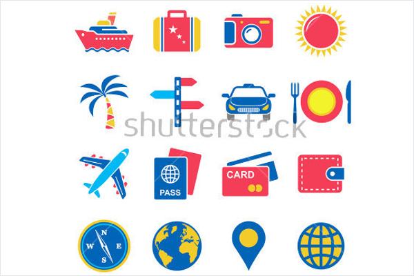 Illustration Travel Icons Vector
