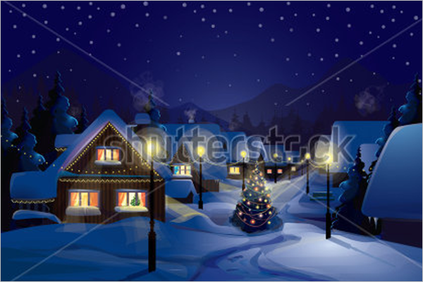 Night Christmas Party Village Template