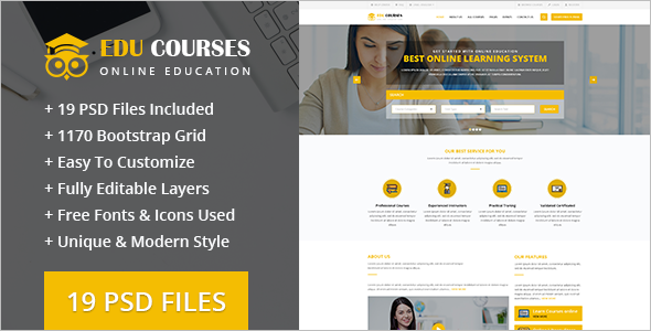 Online Education PSD Template