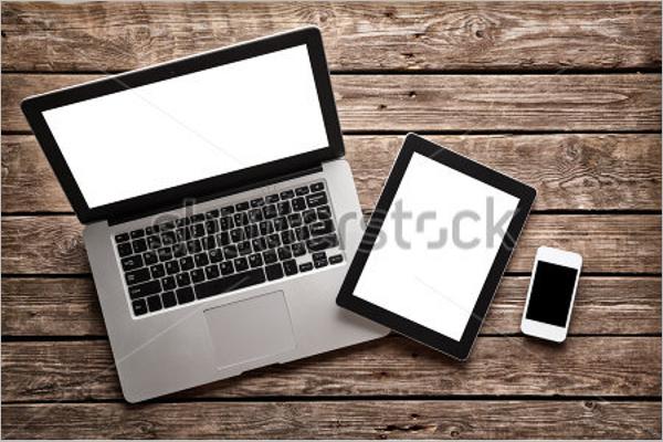 Open Laptop Mockup Template