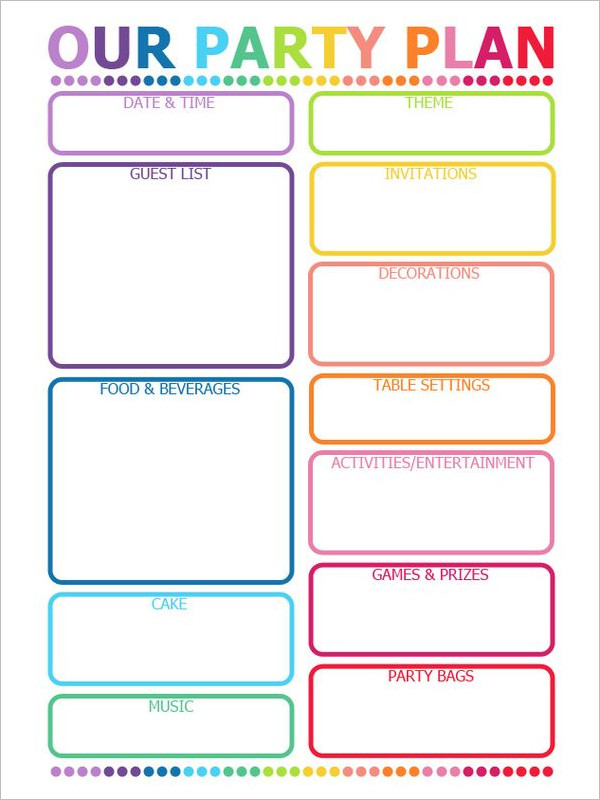 Good PDF Party Planning Template  Party Planning Templates