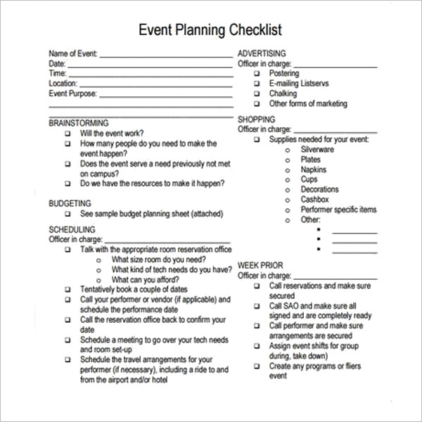 Party Planning Template Word