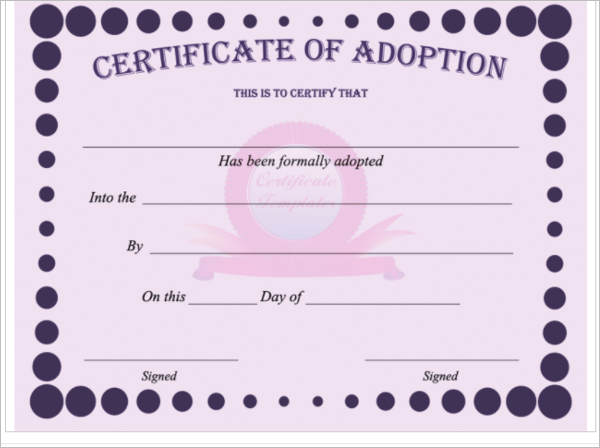 17 adoption certificate templates free pdf word design for Novelty birth certificate template