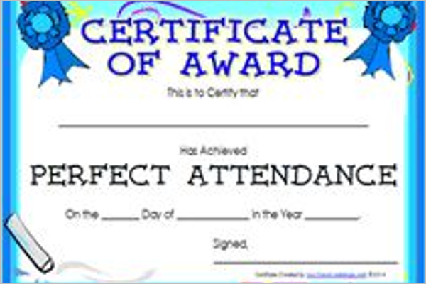 Printable Attendance Certificate Template