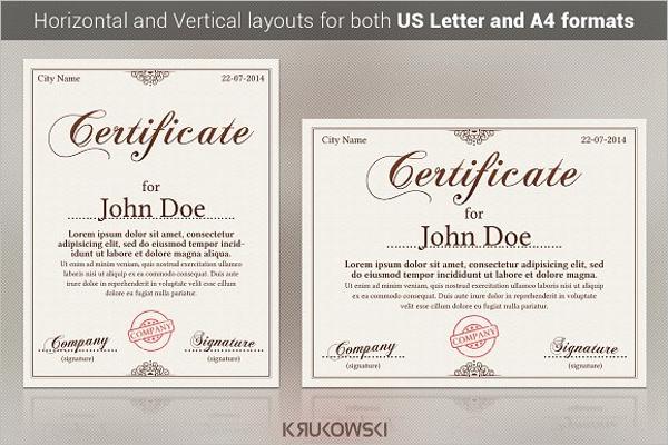 Psd Award Certificate Template