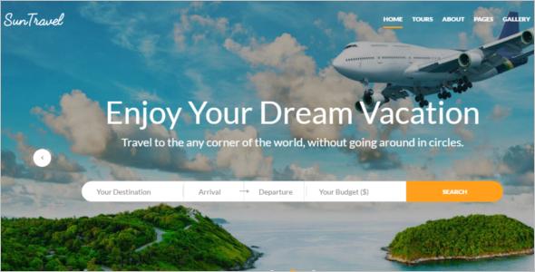Responsive Travel AgencyWebsite Template