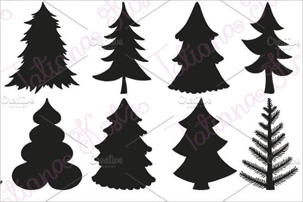 Set Of Black Christmas Tree