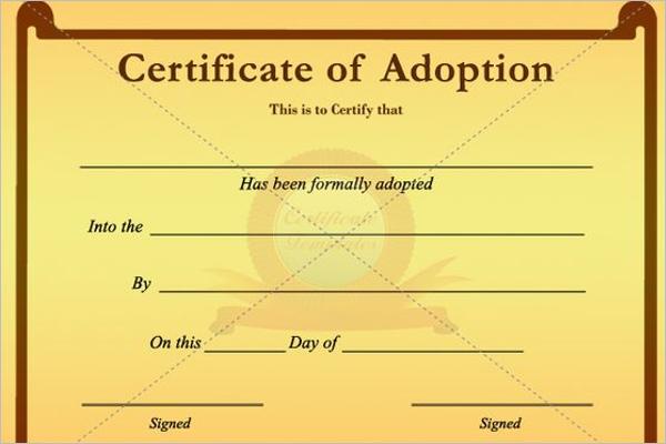 Simple Adoption Certificate Template