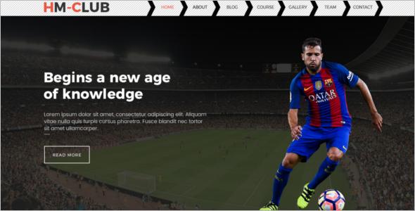 Sports Website Template PSD