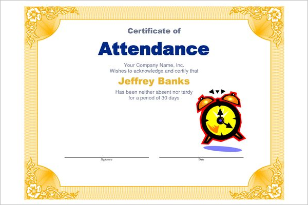 Student Attendance Certificate Doc