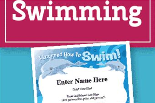 Swim learning Certificate Template