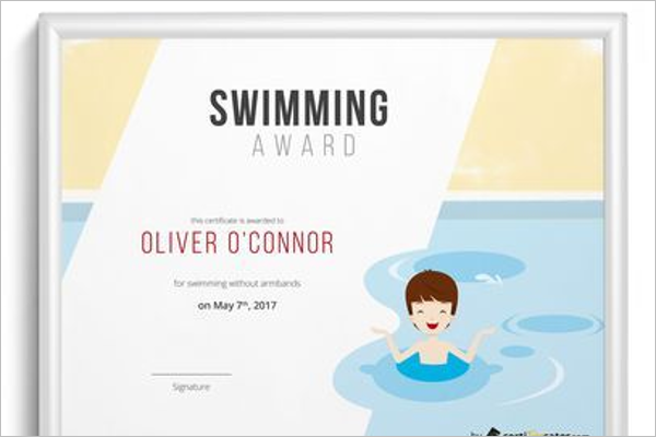 Swim Team Certificate Template