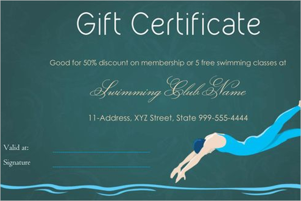 Swimmer Gift Certificate Template