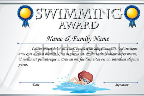 Swimming Pool Certificate Template