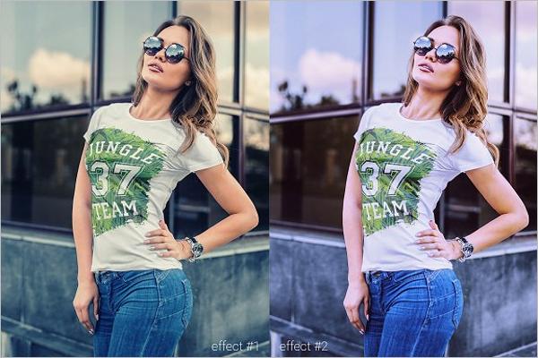 T-Shirt Mock-Up Fashion Girl Template