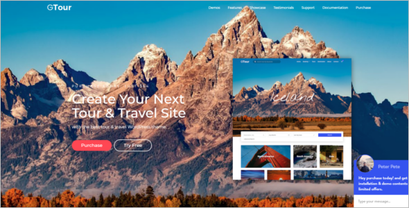 Tourism Bootstrap Website Template