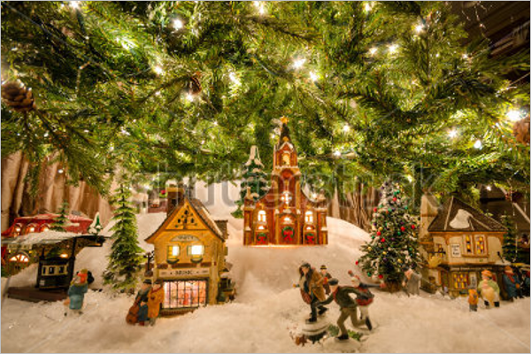 Traditional Christmas Village decorations