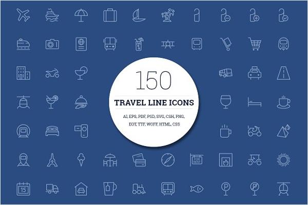 Travel Icons PSD Design