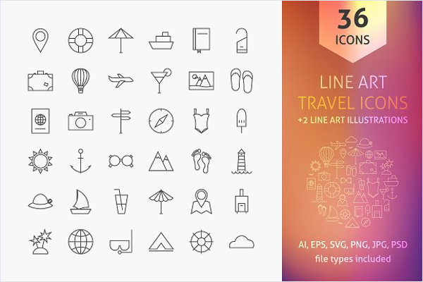 Travel Line Art Icon Template