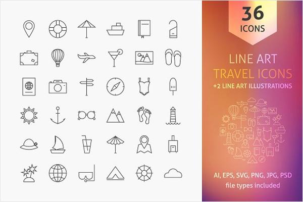 Travel Line Art Icon Template